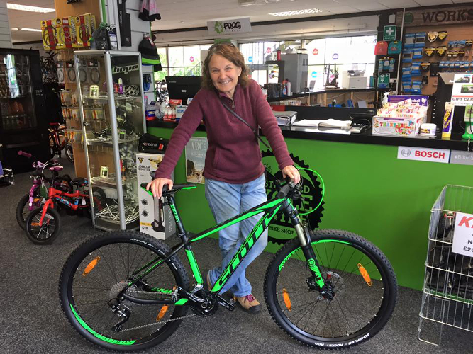 A new Mountain Bike for Janet, a Scott.