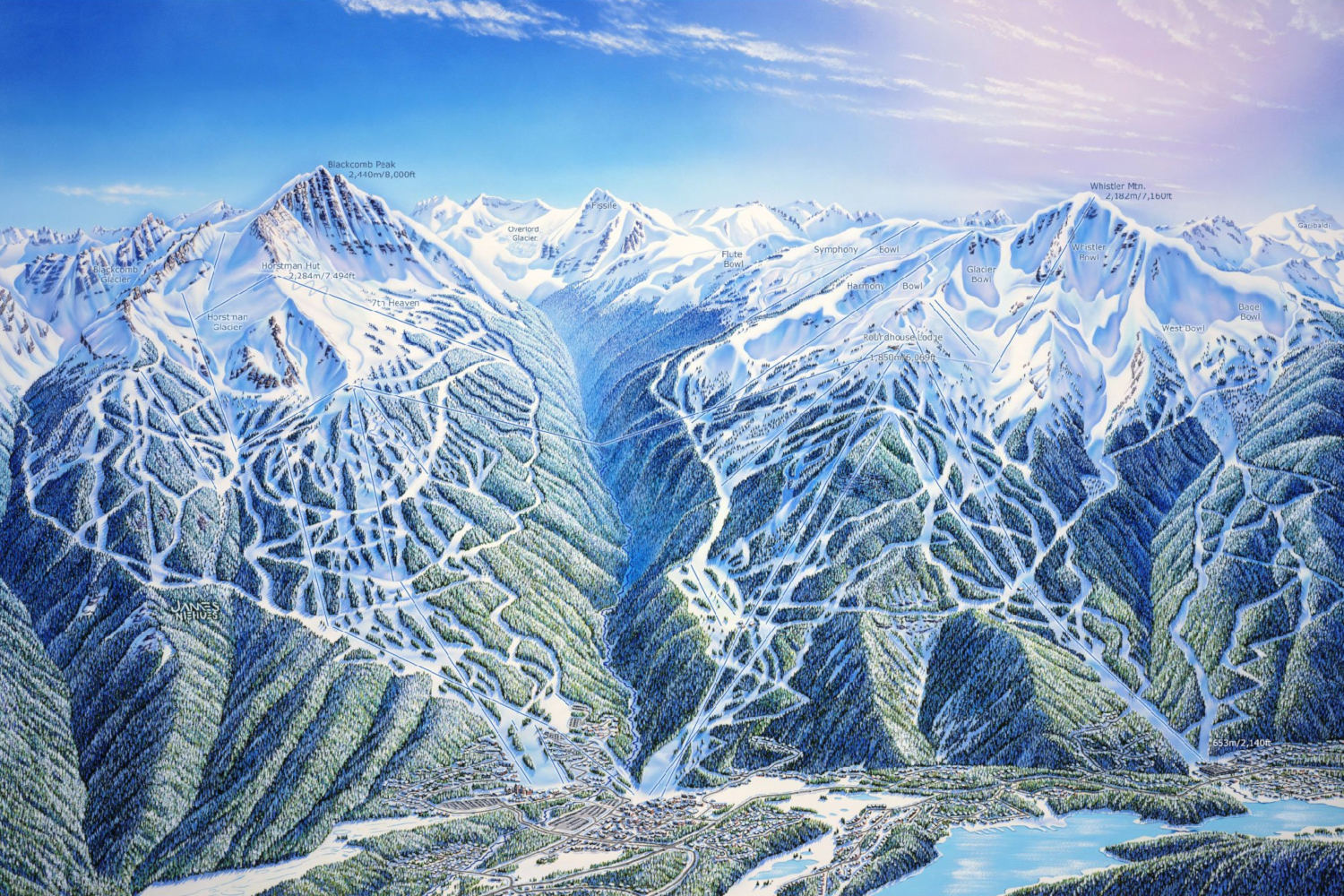 Original Piste Maps Art by James Niehues