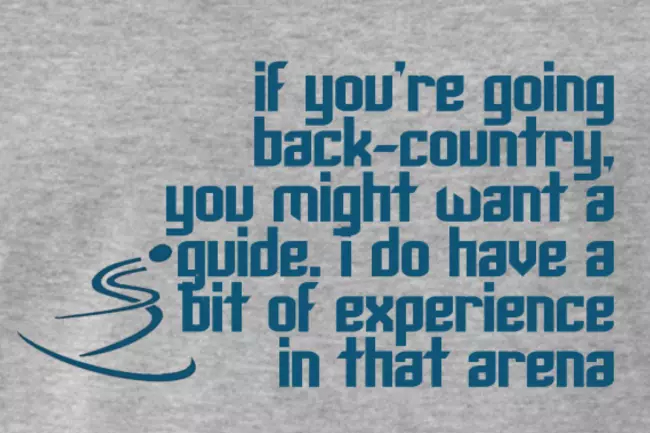 Oscars 2019 Ski T-shirt quote; Back-Country Guide