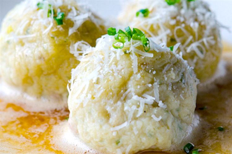 Canederli Dumplings with cheese and butter