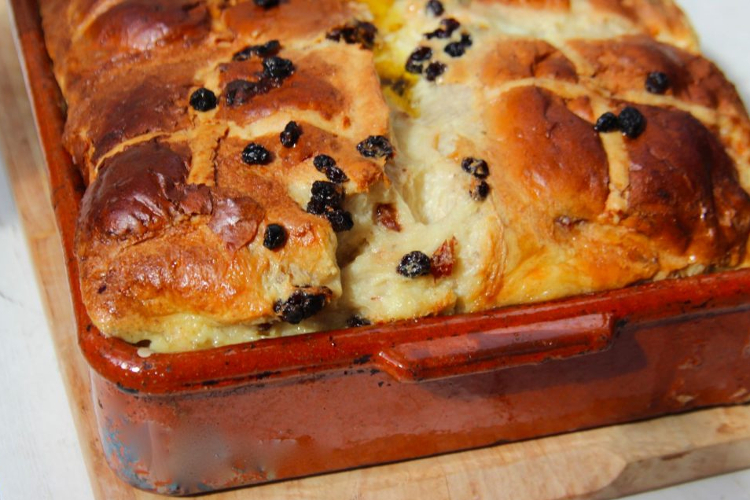 Hot Cross Bread Bun Pudding, for when toasting with butter is not enough