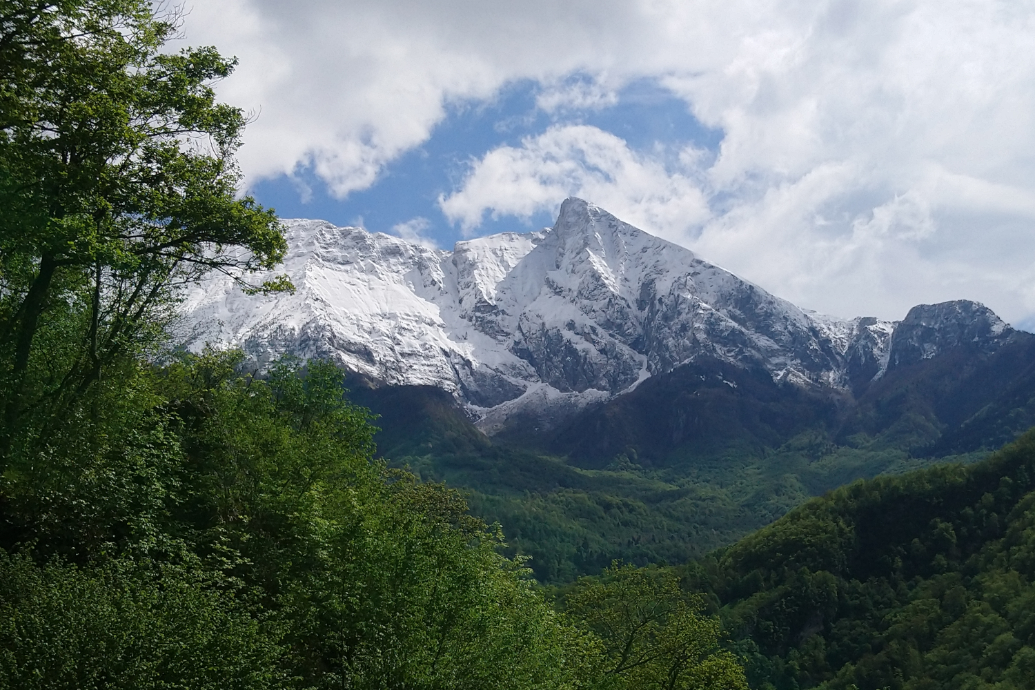 Julian Alps from Lake Bohinj, too much snow for May, too much snow for hiking