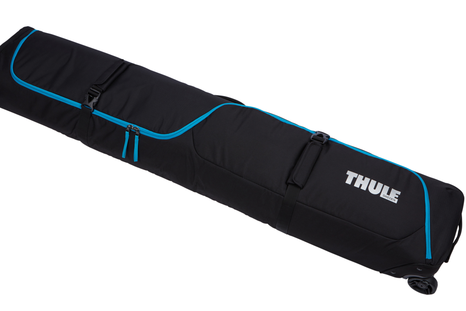 Thule RoundTrip Ski Roller Bag showing wheels and straps