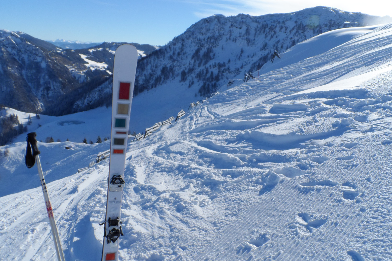 Twin tip skis, ideal when trying to ski backwards